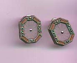Marcasite, glass and enamel earrings (Image1)