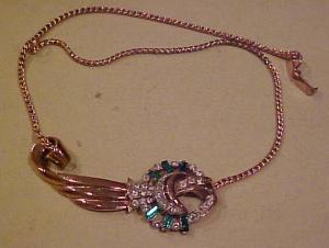 Retro style vermeil necklace w/rhinestones (Image1)
