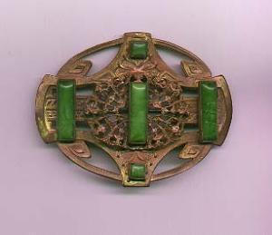 Art Nouveau sash ornament brooch with green czechoslovakian glass (Image1)