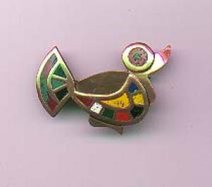 Copper and enamel duck pin (Image1)