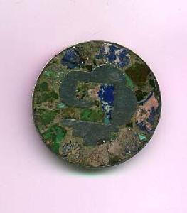 Mexican Sterling Silver pin/pendant with mosaic background (Image1)
