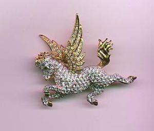 Swarovski Pegasus rhinestone pin (Image1)