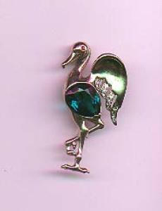 Reja sterling stork pin with green belly (Image1)