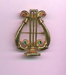 Coro harp pin with rhinestones (Image1)