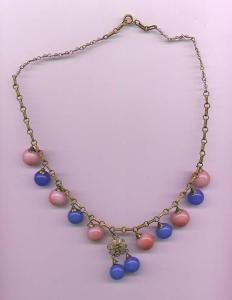 Czechoslovakian pink and blue glass bead necklace (Image1)