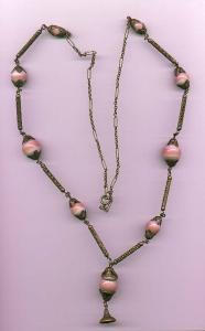 Czechslovakian brass and pink glass beads. (Image1)