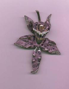 Pot metal, enamel and rhinestone lily pin (Image1)
