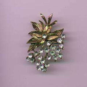 Brushed goldtone pin with clear rhinestones (Image1)