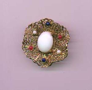 Hobe goldtone pin with white, red and blue glass cabachons (Image1)