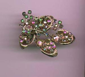 Aurora borealis flower rhinestone pin (Image1)