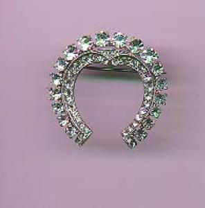 Mazer sterling rhinestone pin with horseshoe (Image1)