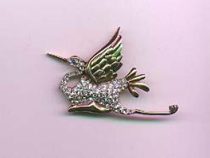 Sterling vermeil bird pin with rhinestones (Image1)