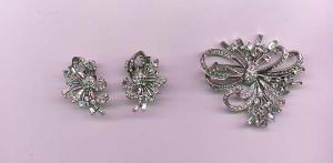 Boucher rhinestone retro style pin and earrings (Image1)