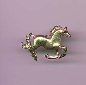 Goldtone horse pin with rhinestones (Image1)