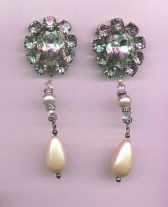 Kirk's Folly rhinestone and faux pearl dangling earrings (Image1)