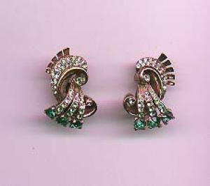 Sterling vermeil retro earrings with rhinestones (Image1)