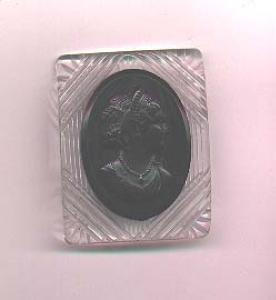 Carved lucite and black bakelite cameo pin (Image1)