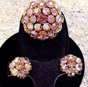 Warner topaz aurora borealis rhinestone pin and earrings (Image1)