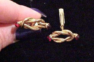 Goldtone cufflinks with red glass cabachons (Image1)