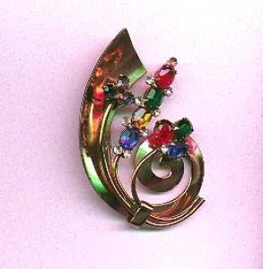 Coro sterling vermeil retro pin with multi colored rhinestones (Image1)