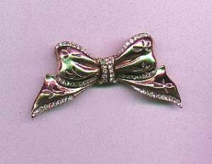 Sterling vermeil retro bow pin with rhinestones (Image1)