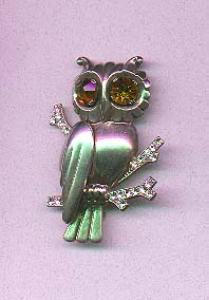 Sterling vermeil owl pin with topaz and clear rhinestones (Image1)