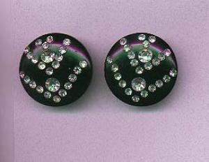 Black thermo plastic earrings with clear rhinestones (Image1)