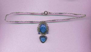 Czechoslovakian Blue glass necklace (Image1)