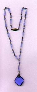 Czechoslovakian faceted blue glass necklace (Image1)