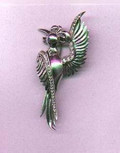 Sterling stylized bird pin with rhinestones (Image1)