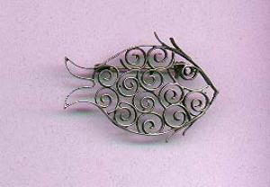 Mexican silver fish pin (Image1)