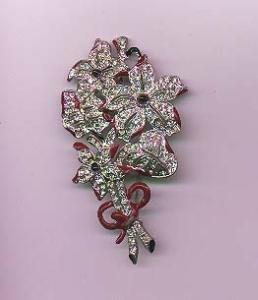 Pot metal enamel and rhinestone flower pin (Image1)