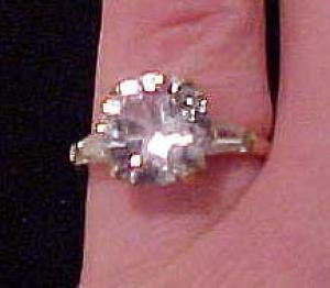 Sterling vermeil cubic zirconia ring (Image1)