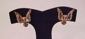 Retro style sterling vermeil earrings with clear rhinestones (Image1)