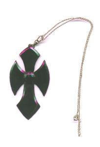 Victorian Jet Glass Cross on silver chain (Image1)