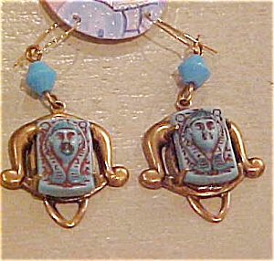 Czechoslovakian Egyptian revival earrings (Image1)