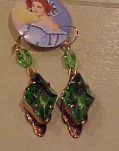 Czechoslovakian faceted green glass earrings (Image1)