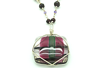 Amethyst Silver and Glass Necklace (Image1)