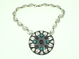 Sterling Necklace with Amethyst & Turquoise (Image1)