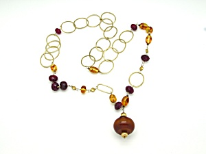 Amber & Quartz Sterling Vermeil Necklace