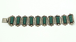 Mexican Bracelet with Carved Green Onyx   (Image1)