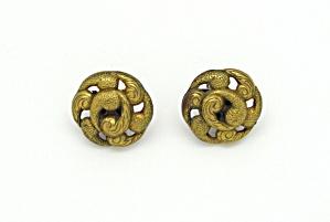 Art Deco Goldtone Plastic Earrings (Image1)