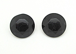 Black Faceted Glass Earrings (Image1)