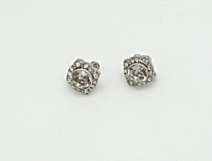Sterling Art Deco Rhinestone Earrings (Image1)