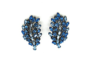 Blue Rhinestone Leaf Design Earrings (Image1)