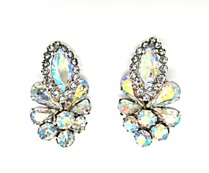 Weiss Flower Rhinestone Earrings