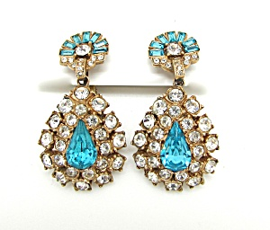 Blue & Clear Rhinestone Teardrop Earrings