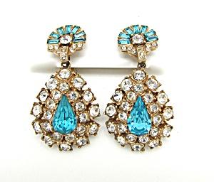 Blue & Clear Rhinestone Teardrop Earrings (Image1)