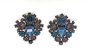 Blue & Purple Rhinestone Earrings