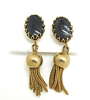 Black Glass And Tassle Earrings